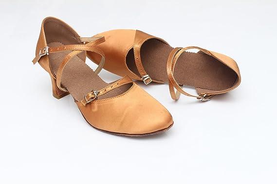 ShangYi Modern Dance Schuhe Frauen weiche Sohlen Mittlere und hintere Tanzschuhe Frauen Tango Schuhe Walzer Schuhe, mit Höhe 7cm, Braun, EU36/UK3.5/CN35