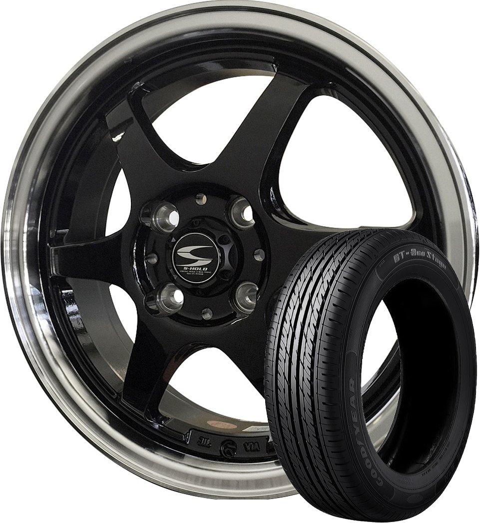 14インチ 1本セット サマータイヤホイール GOODYEAR(グッドイヤー) GT-エコステージ 155/65R14 75S + エスホールド シュトルツ ブラック/リムポリッシュ B07DLXM36Q