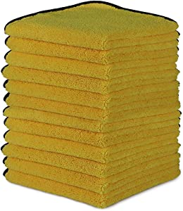 AIDEA Microfiber Detailing Towel-12PK, Cleaning Cloth Drying Towel, Scratch-Free, Strong Water Absorption Cleaning Cloth for Cars, SUVs, RVs, Trucks, and Boats, (16 in. x 16 in.)