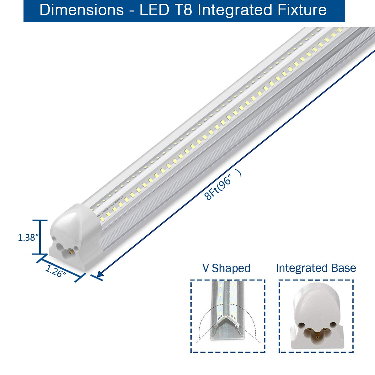 8Ft LED Shop Light, 72W, 7500LM, 6500K, T8 V-Shape Integrated Tube Light Fixture, Hight Output, Brighter White, LED Tube Light for Garage, Warehouse, Plug and Play (Pack of 5) by LECLSTAR (Image #3)