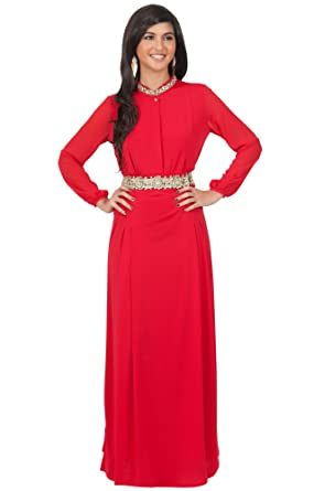 b34bdd0ded KOH KOH Plus Size Womens Long Sleeve with Sleeves Vintage Formal Flowy  Empire Waist Fall Winter Cute Abaya Modest Muslim Gown Gowns Maxi Dress  Dresses for ...