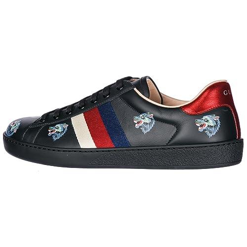 Gucci Scarpe Sneakers Uomo in Pelle Nuove Wolves Nero  Amazon.it  Scarpe e  borse 4b590be60c23