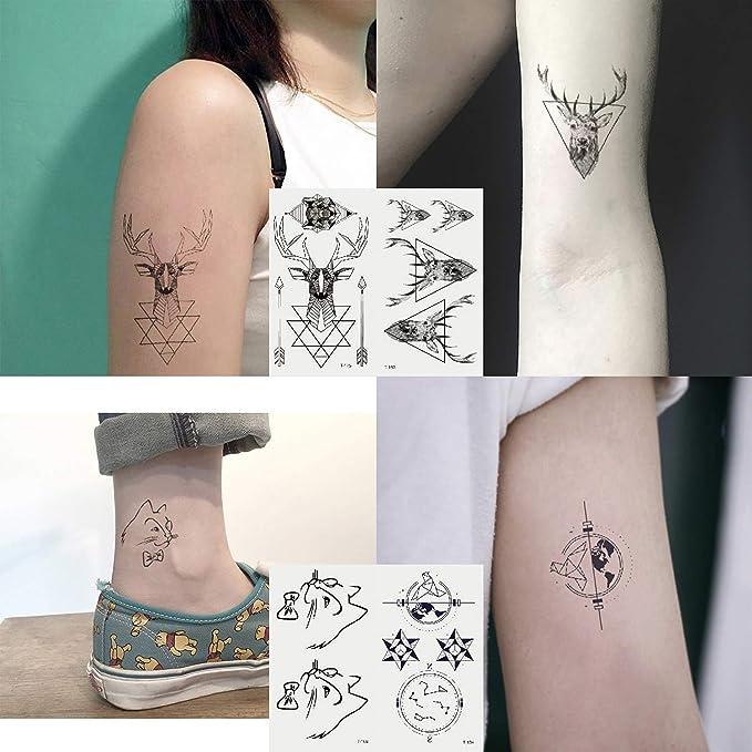 Oottati 30 Hojas Tatuaje Temporal Tattoo Pequeño Lindo Negro ...