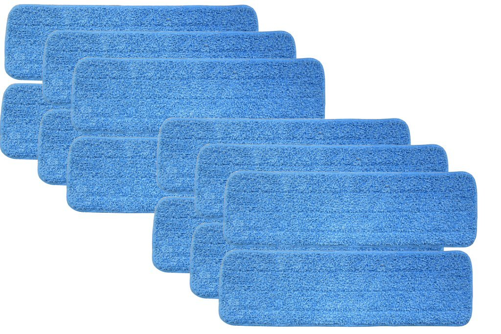 Turkey Creek Essentials 12 Microfiber Mop Pads 18 Inch Washable Commercial Quality, Replacement Refills for Hook and Loop Flat Mops - Use Wet or Dry, 18'' L X 5.5'' W, 12Pk by Turkey Creek Essentials (Image #1)