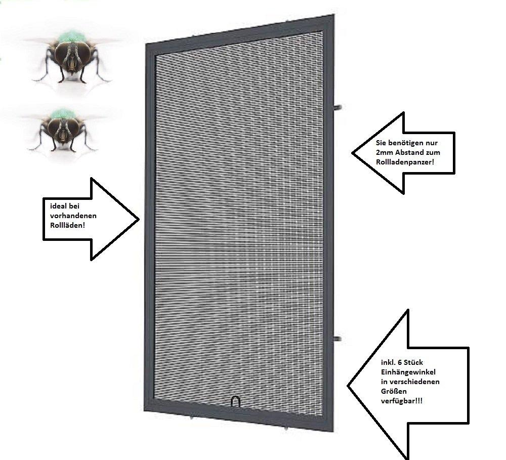 M/ücken Insektenschutz Fenster 100cm x 120cm, 13mm Einh/ängewinkel Fliegengitter Alu Anthrazitgrau RAL7016 optimal f/ür Roll/äden
