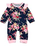 Newborn Baby Girls Romper Ruffle Sleeves Floral Jumpsuit Infant One-Piece Flower Bodysuit Overall