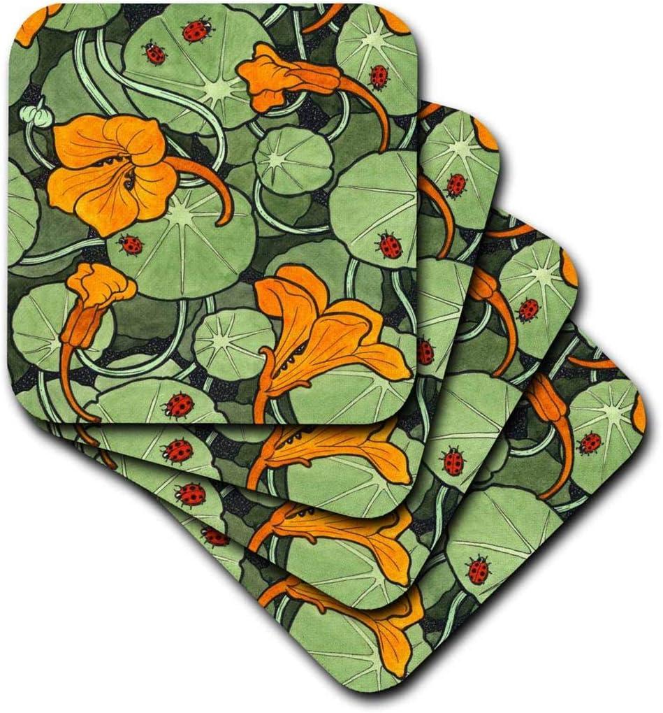 3dRose Art Nouveau Orange Nasturtium Flowers with Ladybirds - Ceramic Tile Coasters, Set of 4 (CST_216475_3)