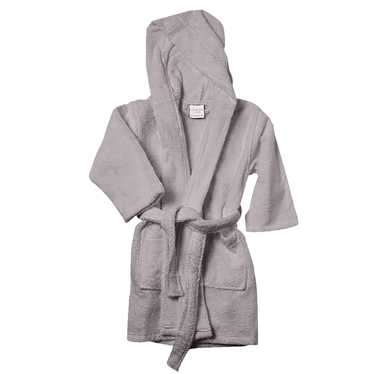 Luxor Linens Kids Robe - Luxury Hooded Bathrobe for Girls and Boys and 100% Egyptian Cotton (Light Grey, Small/Medium)