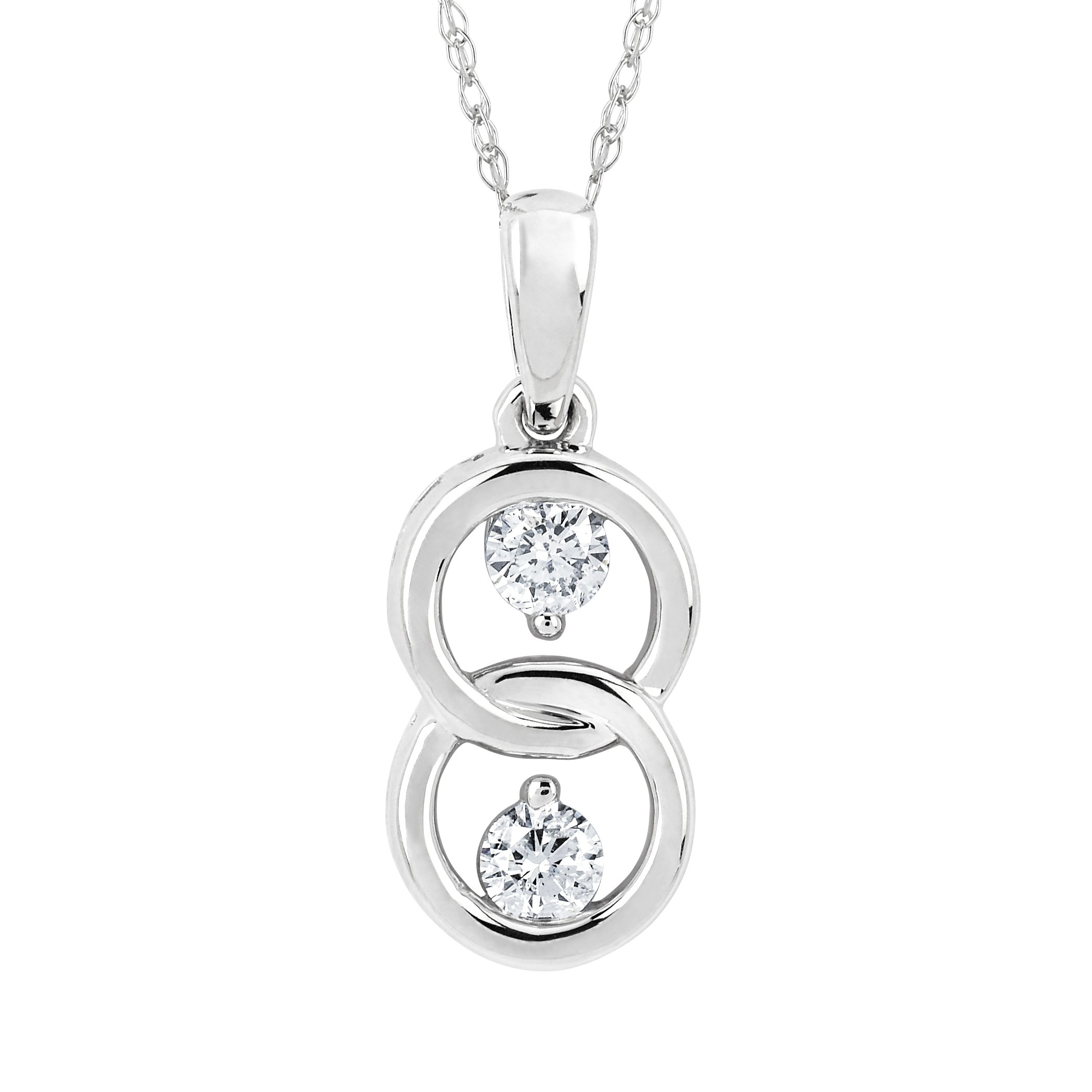 10K White Gold 1/5 Ctw. Diamond Two Stone Interlocking Love Pendant Necklace with Chain
