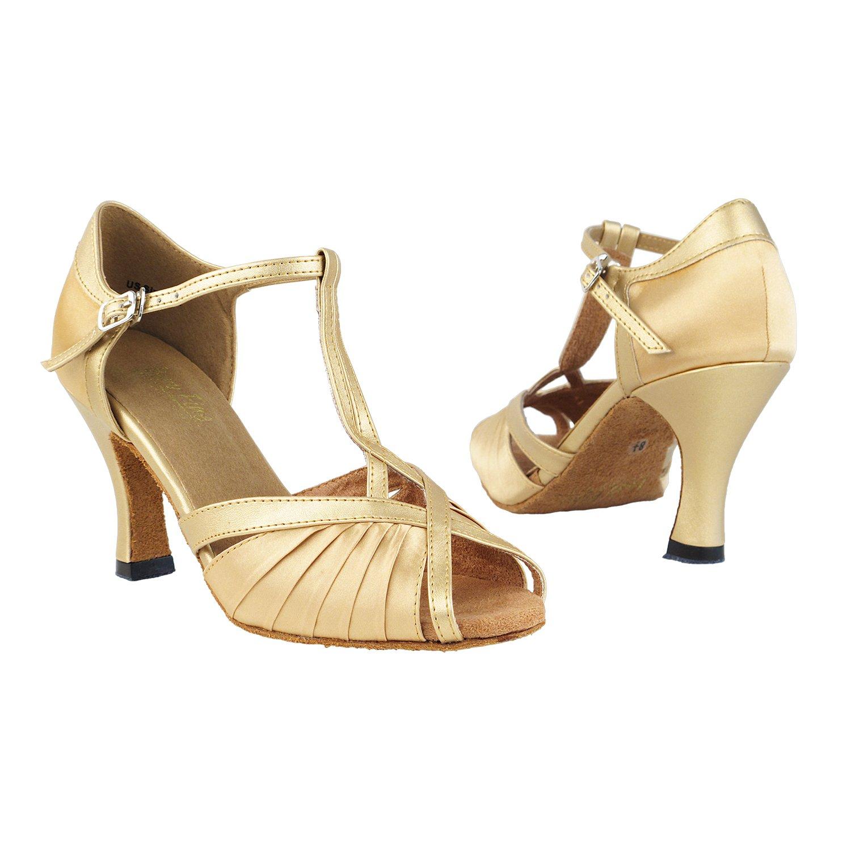 Very Fine Dance Shoes 2707 Light Brown Satin & Light Gold, 2.5'' Heel, Size 8
