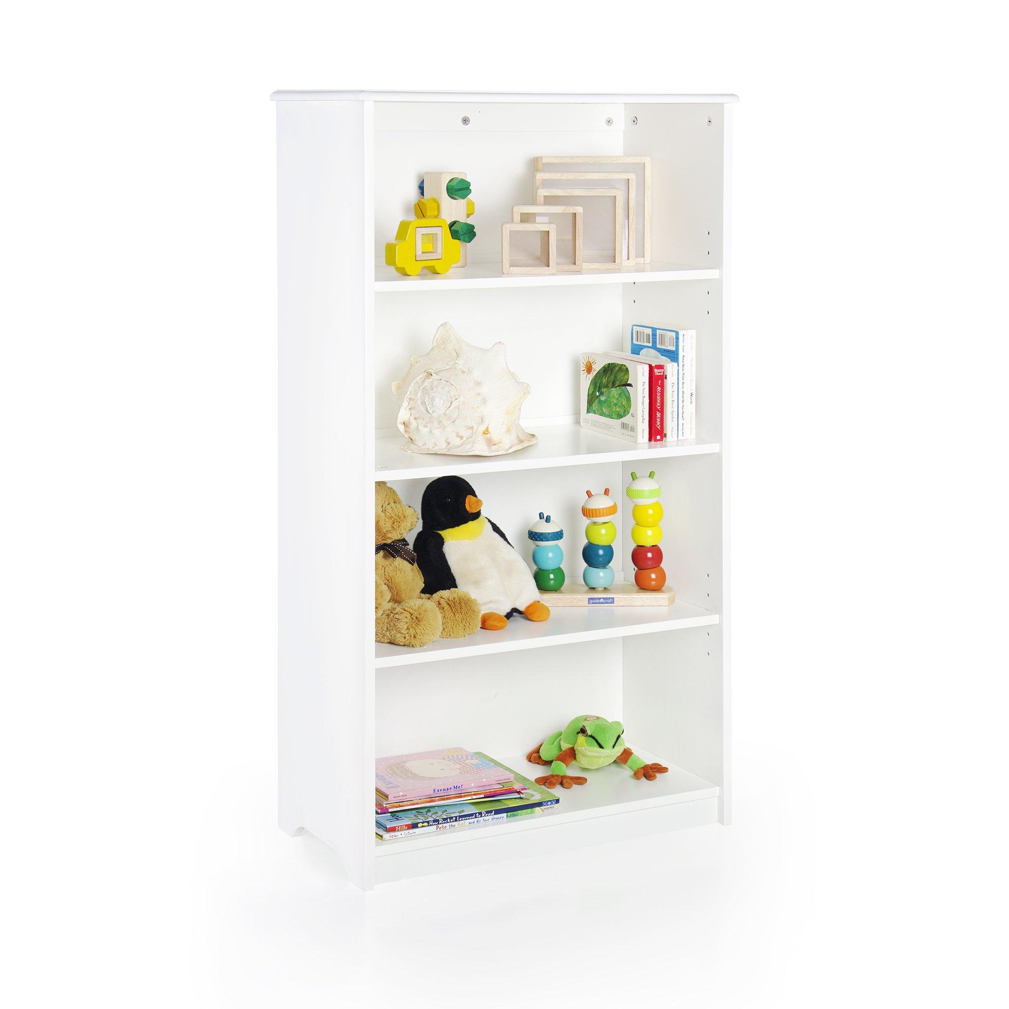 Guidecraft Classic 48'' Bookshelf - White: Storage Book Rack Kids School Furniture