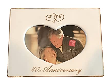 fbe9bc8577 Russ White Lace and Promises 4oth Anniverary Frame Center Is Heart Shaped