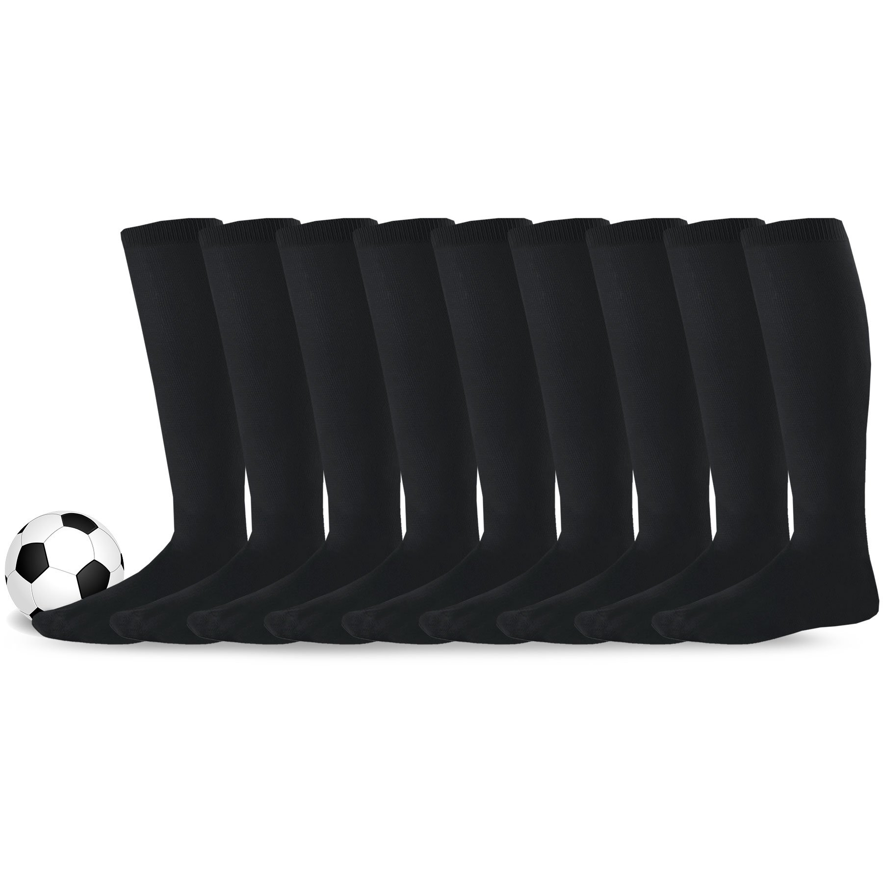 Soxnet Acrylic Unisex Soccer Sports Team Cushion Socks 9 Pack (Medium (9-11), Black)