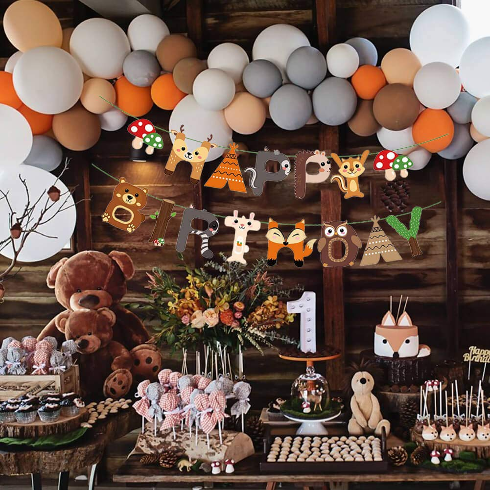 Woodland Creatures Party Decoration Forest Animals Friends Banner Balloon Kits Woodland Holiday Animal Pine Tree Birthday Baby Shower Camping Party Supplies Decorations