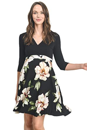 26e726bfe6aa Hello MIZ Women's Floral Maternity Mini Dress at Amazon Women's ...