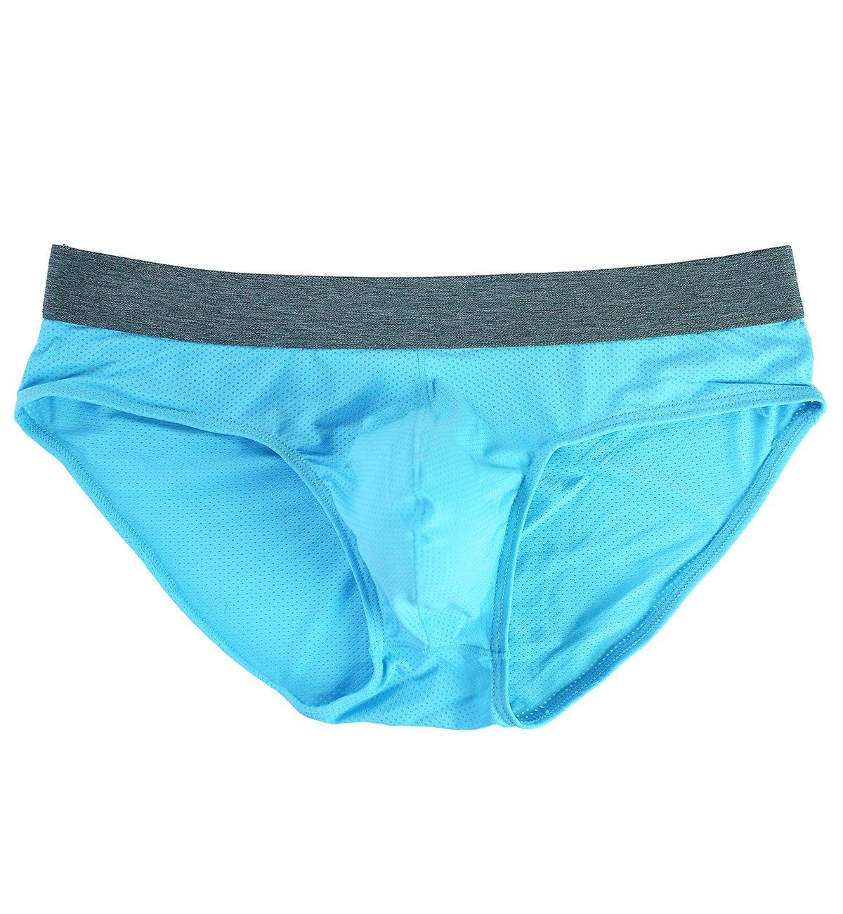 Tyhengta Men's Underwear Body Mesh Briefs 1 Pack Blue Small