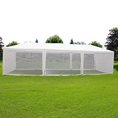 Canopy Gazebo Party Wedding Tent Screen House Sun Shade Shelter with Fully Enclosed Mesh Side Wall: Sports & Outdoors