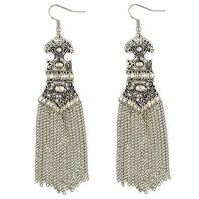 Bohemian Gold Silver Alloy Long Chain Tassel Dangle Fish Hook Earrings Wejk2k