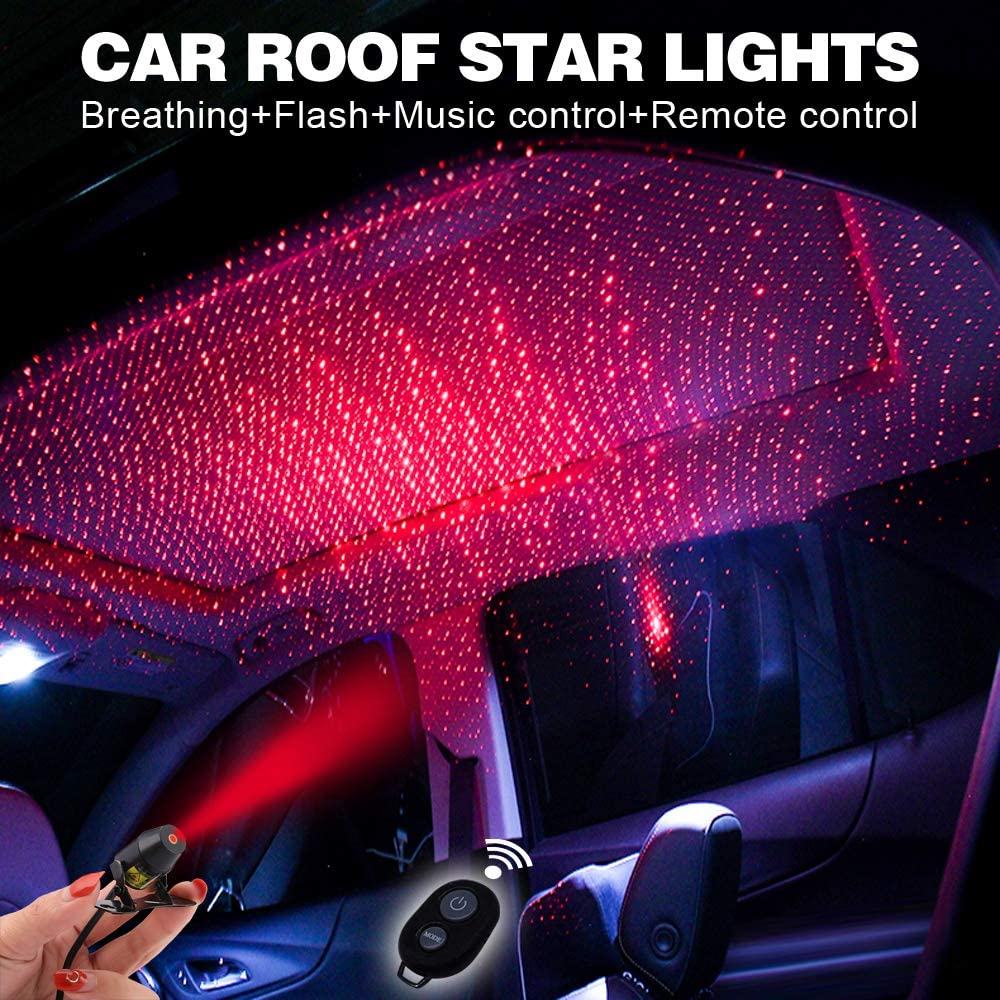 Car interior lights LED decorative armrest box car roof full star projection laser,Romantic Auto Roof Star led,The interiors Multiple Modes Lights for car/Home/Party-No Need to Install(Red-Starry sky)