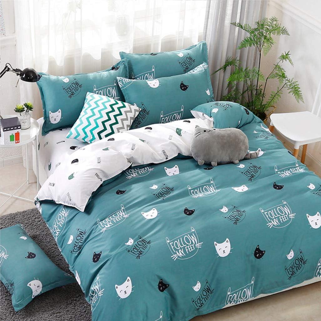 Home Textile Duvet Cover Sheet Pillow Case Lovely Pink Cat Kitty Bedding Set Girls Kid Teen Woman Bed Linens