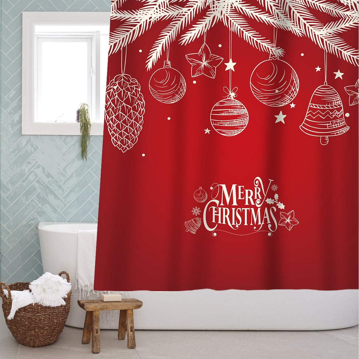 Merry Wave Fabric Shower Curtain Bathroom Home Office Holiday Wall Decoration as Tapestry and Photo Booth Backdrop
