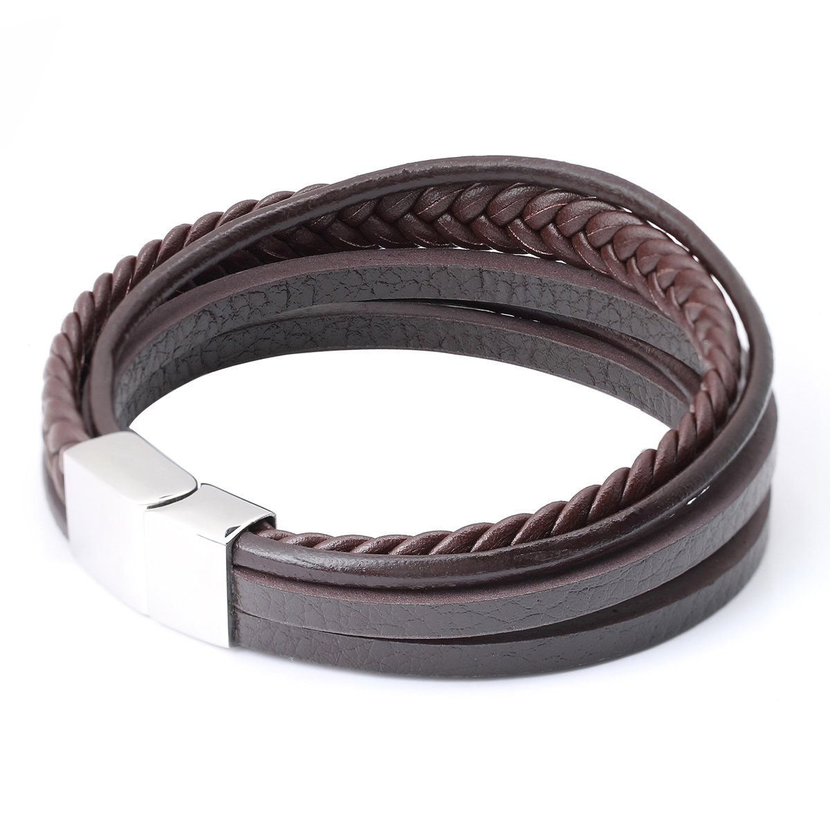 Eigso Braided Leather Bracelet for Men Wristband with Stainless Steel Magnetic Clasp