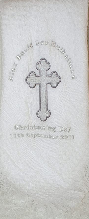 Cream Christening//Baptism Personalised Shawl with Big Cross in White or Cream