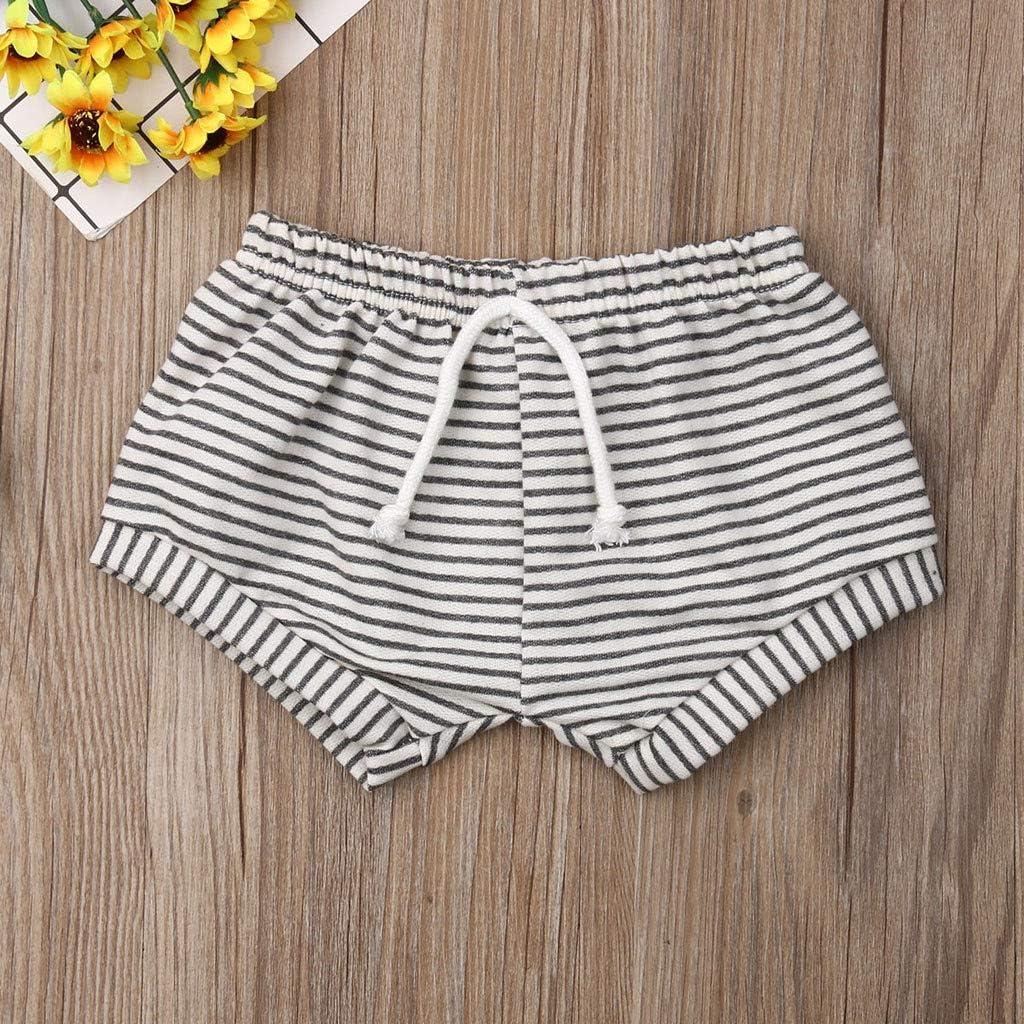 Lisin Summer Baby Boy Girl PP Striped Casual Sweatpants Shorts Elastic Waist Clothes