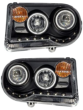Amazon projector headlight fits 2005 2017 chrysler 300c g2 projector headlight fits 2005 2017 chrysler 300c g2 halo black led ccfl without hid sciox Image collections
