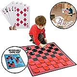 KOVOT Jumbo Game Set - Includes Huge Playing Cards & 3-in-1 Large Reversible Game Mat: Jumbo Checkers, Tic Tac Toe & Super Tic-Tac-Toe