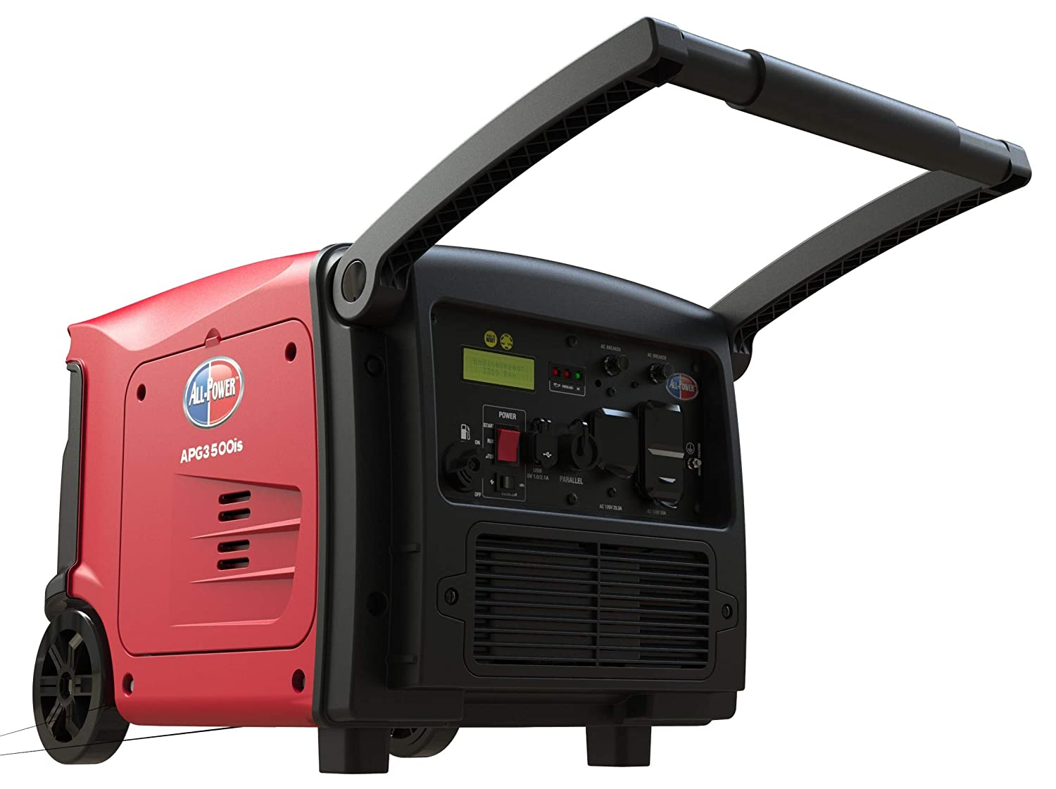 All Power America APG3500IS, 3500 Watt Quiet Portable Inverter Generator  w/Electric Start Gas Powered & Parallel Function Ready, 3500W, Red