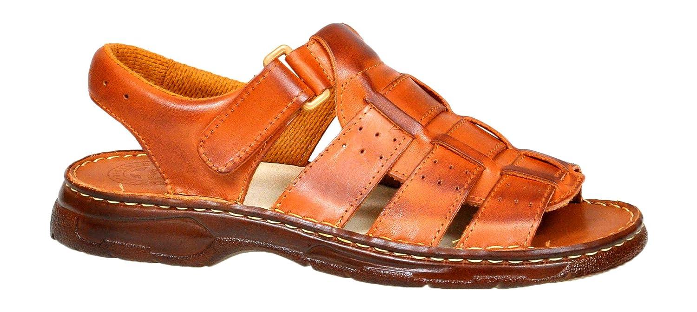 Lukpol Herren Bequeme Sandalen Schuhe mit der Orthopadischen Einlage Aus Echtem Buffelleder Hausschuhe Modell 817  44 EU|Kognak