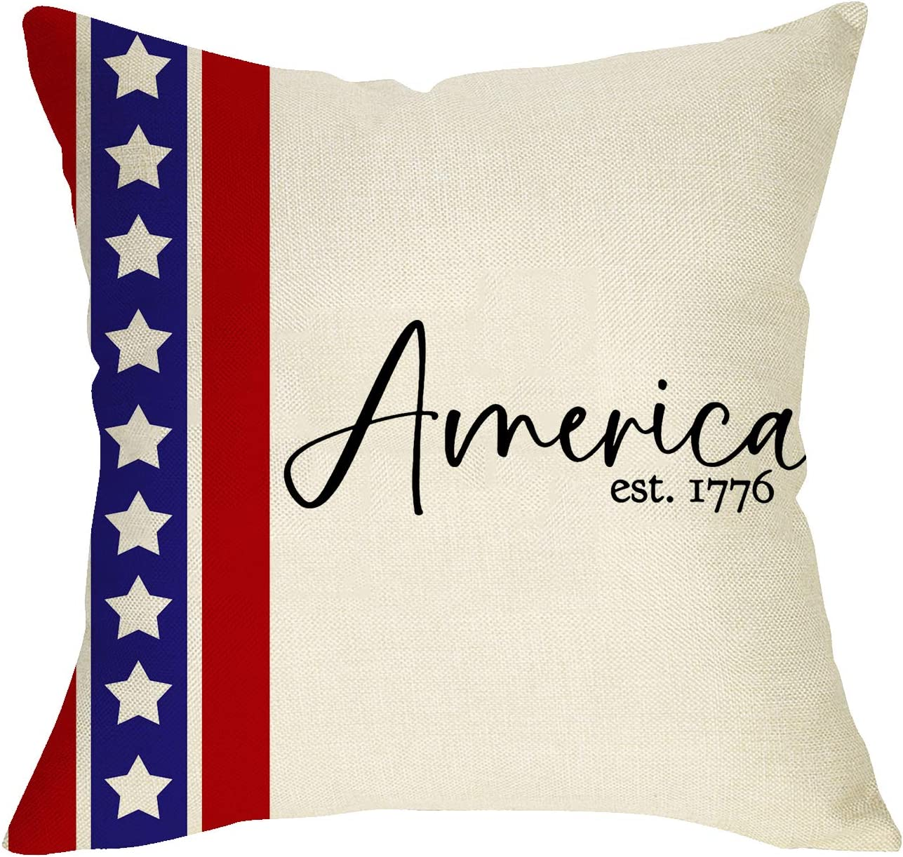 Softxpp America est.1776 Decorative Throw Pillow Cover, 4th of July Holiday Cushion Case USA Flag Stars Patriotic Sign, Home Spring Summer Decoration Pillowcase Decor 18 x 18 Inch Cotton Linen