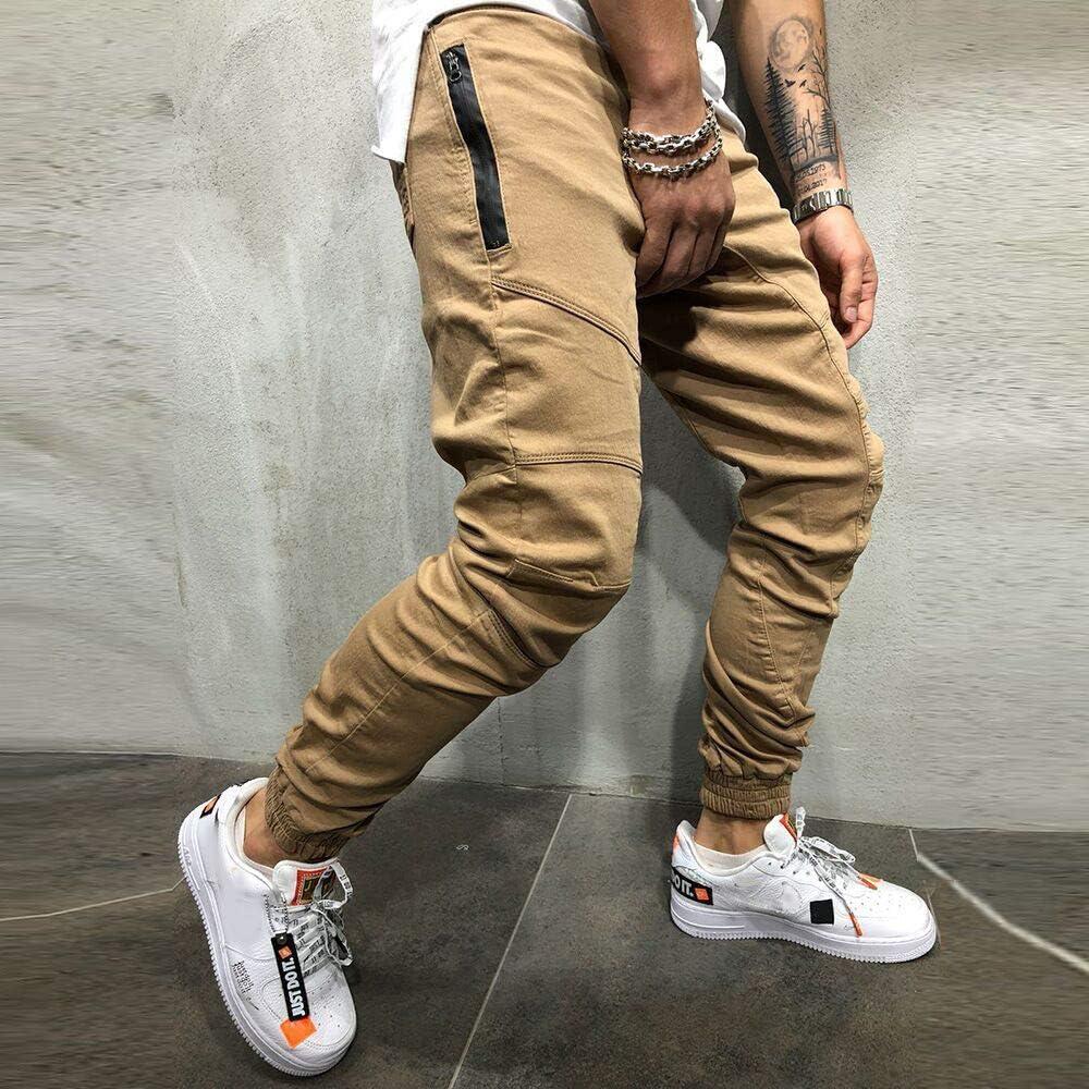 Pantalones de Hombre Casuales Chino Deporte Joggers Pants Algod/ón Slim Fit Jeans Cargo Trouser con Bolsillos STRIR