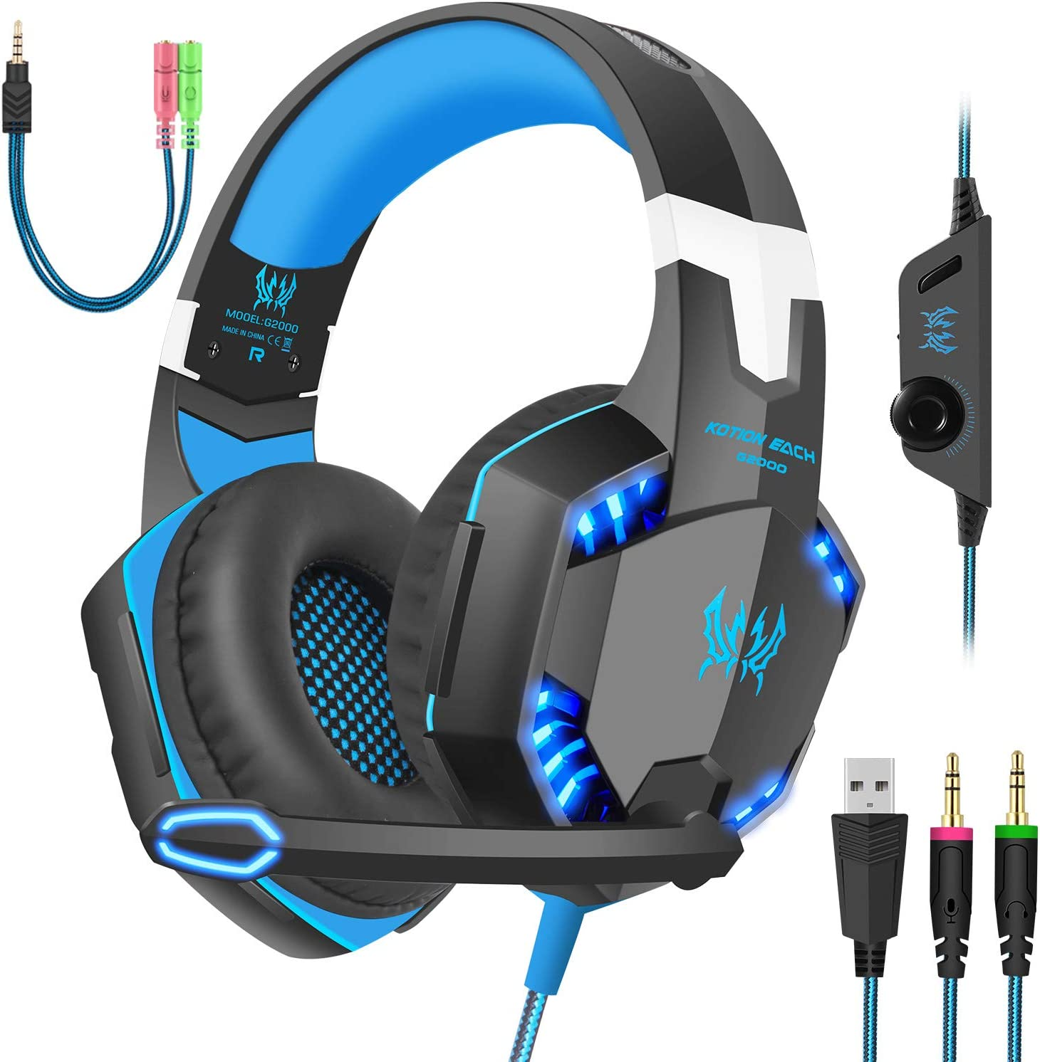 Amazon Com Gaming Headset With Mic For Pc Ps4 Xbox One Over Ear Headphones With Volume Control Led Light Cool Style Stereo Noise Reduction For Laptops Smartphone Computer Black Blue Computers Accessories