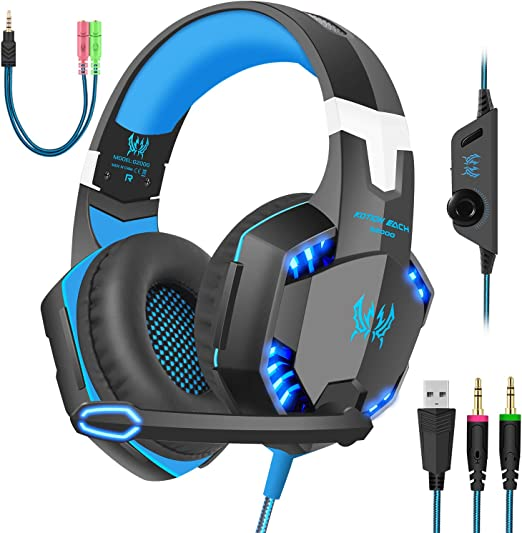 SY830MV 3.5mm Wired Gaming Headphones with Mic LED Light for PC Phone Gamer