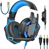 Gaming Headset with Mic for PC,PS4,Xbox One,Over-Ear Headphones with Volume Control LED Light Cool Style Stereo,Noise…