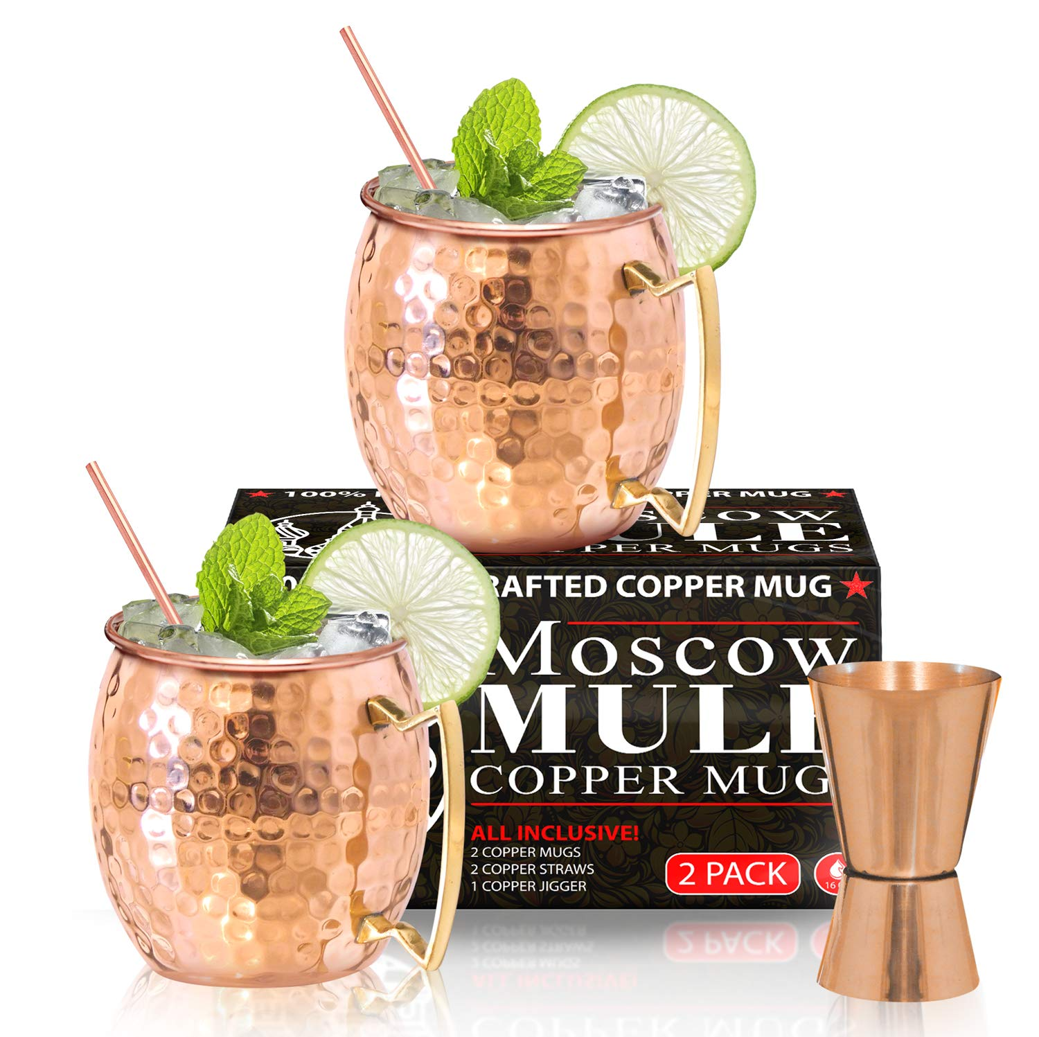BENICCI Moscow Mule Copper Mugs - Set of 2, 16 Ounce - Hammered and Handcrafted - with 2 Copper Straws and 1 Jigger by Benicci