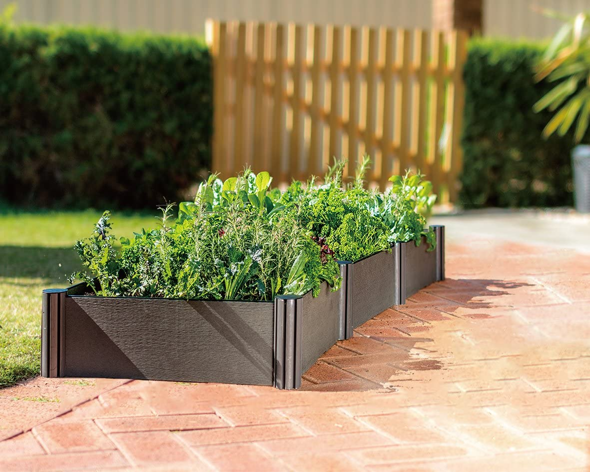 WatexUrban Farming WX037 Triple Raised Garden Bed Kit,Micro Irrigation kit included, Grey