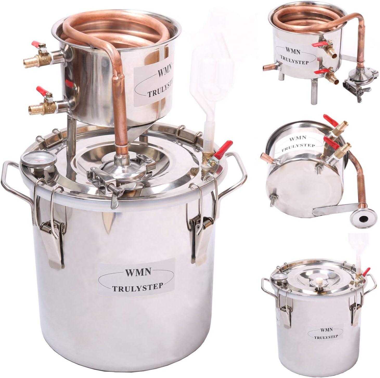 20L Kit de destilación de para el hogar destilador de cobre; para la elaboración casera de vino, alcohol, cerveza o destilación de agua
