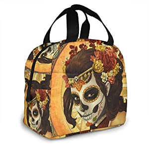 Portable Lunch Tote Bag Day Of The Dead Sugar Skull Girl's Face Art Painting Insulated Cooler Thermal Reusable Bag Lunch Box Handbag