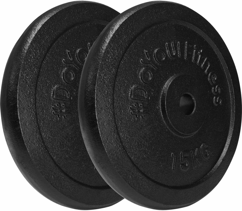 DoYourFitness 2X 15kg Pesas de Hierro Fundido 100% / Negro/Orificio de 30/31 mm. Uso Variable: Mancuerna Larga o mancuerna Corta / 2X 15kg: Amazon.es: Deportes y aire libre