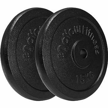 2x 15kg pesas de hierro fundido 100% / Negro / Orificio de 30 / 31