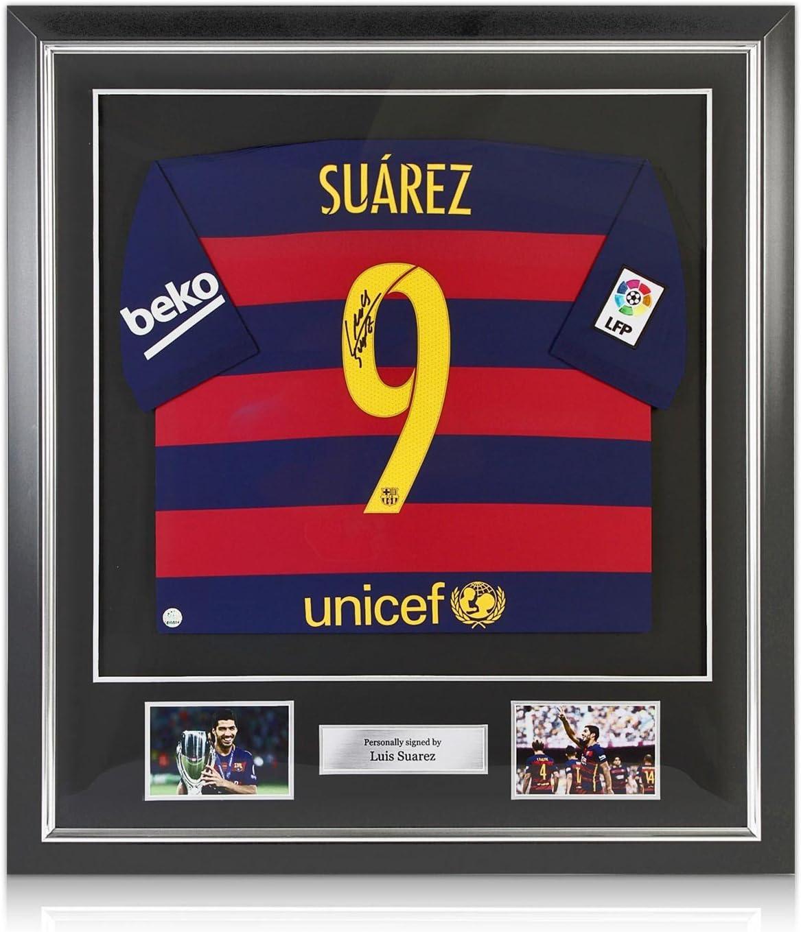 Luis Suárez del Barcelona firmada 2015-16 camiseta de fútbol. En Marco Negro Deluxe con plata embutido: Amazon.es: Deportes y aire libre