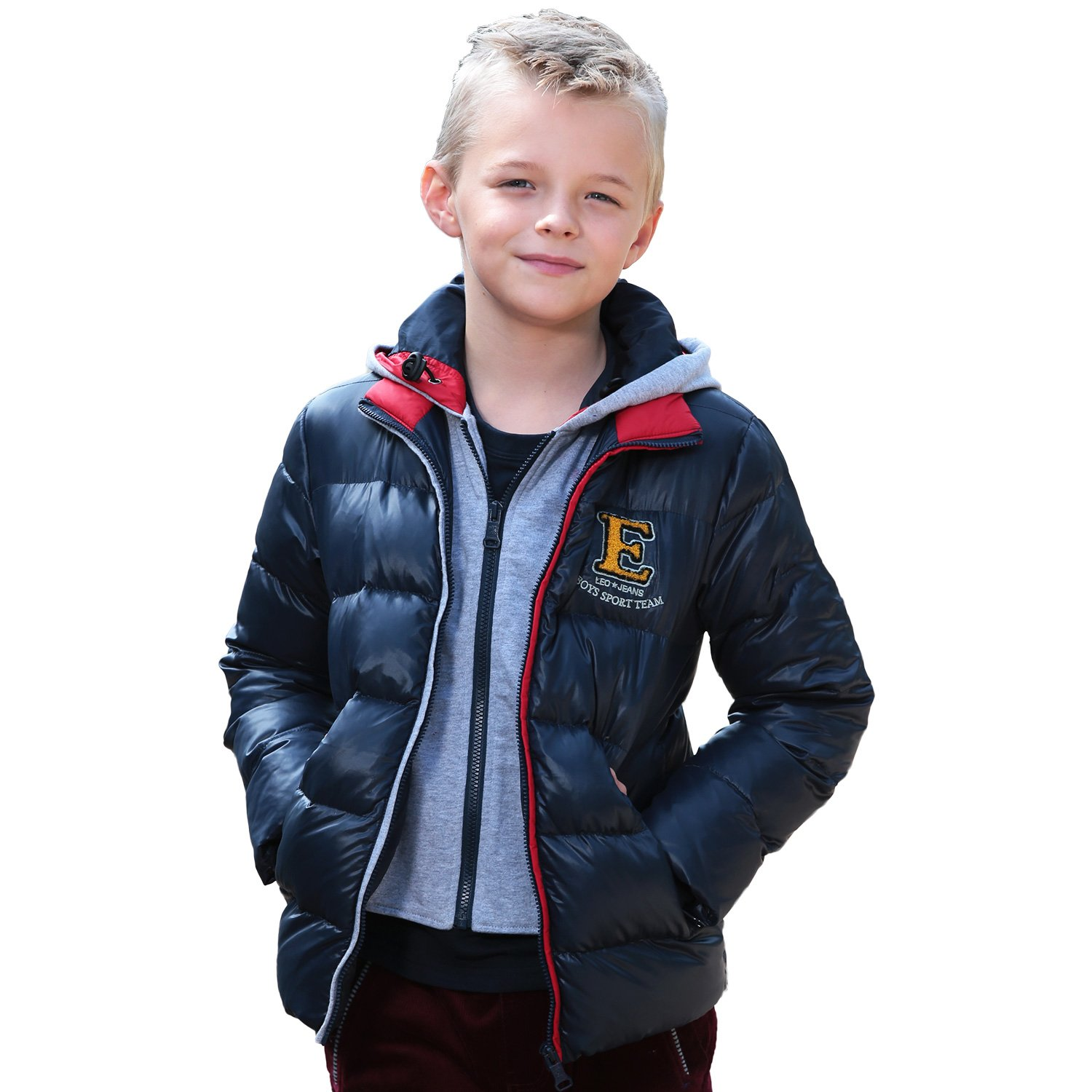 Leo&Lily Boys' Winter Padded Puffer Down Jackets Outwear Coats LLB1719-8-Red-$P