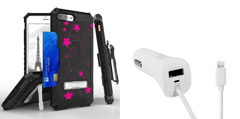 Apple iPhone 8 Plus – Accessoryバンドル:デュアルレイヤー耐衝撃[ Military Grade ]保護ケース、[ Apple MFI認証取得] 17 W Lightning USBポートの車の充電器、Atom LED AP-8PLUS-DE368 TRI/PAPP8H34WT LED B075QQ4F85  Pink Stars