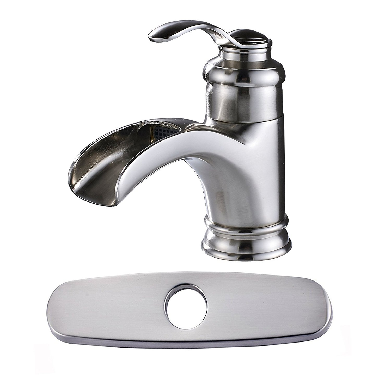 Votamuta Single Handle Waterfall Spout Bathroom Stainless Steel Sink Faucet Deck Mounted Mixer Tap with Cover Plate
