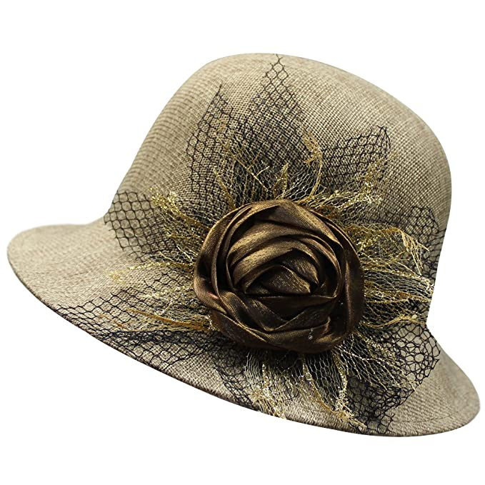 b045605d323 Image Unavailable. Image not available for. Color  Womens Breathable Linen  Flower Lace Cloche Sun UV Travel Bucket Boonie Top Hat