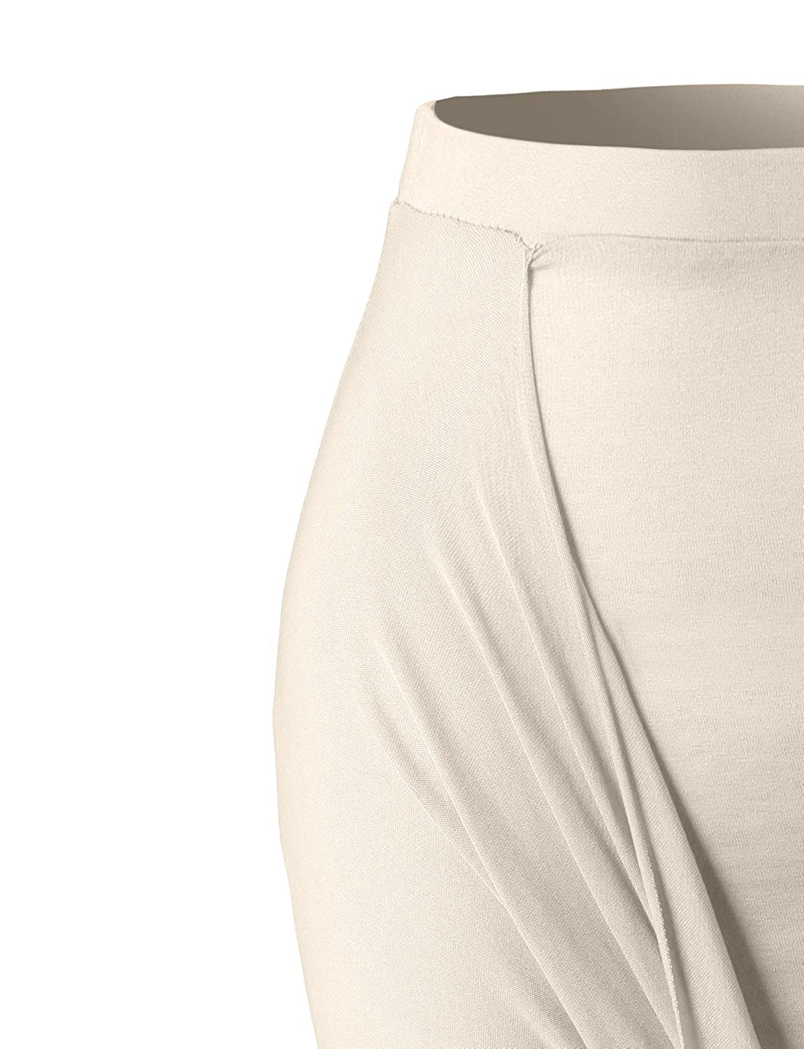 LE3NO Womens Fitted Draped Asymmetrical Hi Low Skirt with Stretch