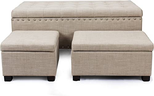 Asense Fabric Rectangle Button Tufted Lift Top Storage Ottoman Bench